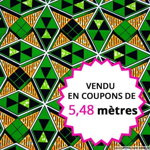 Wax africain diamants vert, vendu en coupon de 5,48 mètres