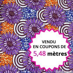 Wax africain fleurs violet et orange, vendu en coupon de 5,48 mètres
