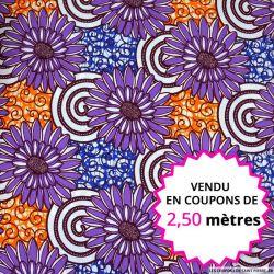 Wax africain fleurs violet et orange, vendu en coupon de 2,50 mètres