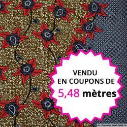 Wax africain lierre bordeaux, vendu en coupon de 5,48 mètres