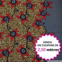 Wax africain lierre bordeaux, vendu en coupon de 2,50 mètres
