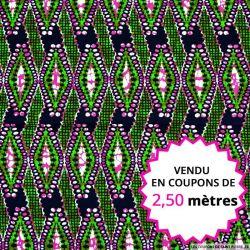 Wax africain quadrillage vert et fuchsia, vendu en coupon de 2,50 mètres