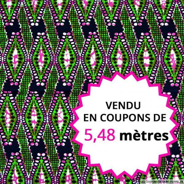 Wax africain quadrillage vert et fuchsia, vendu en coupon de 5,48 mètres