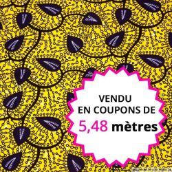Wax africain feuille bleu nuit fond jaune, vendu en coupon de 5,48 mètres