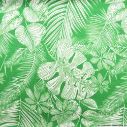 Jersey polyester imprimé monstera vert