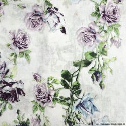 Lin mélangé imprimé roses fond blanc