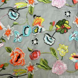Tulle noir brodé fleurs multicolore
