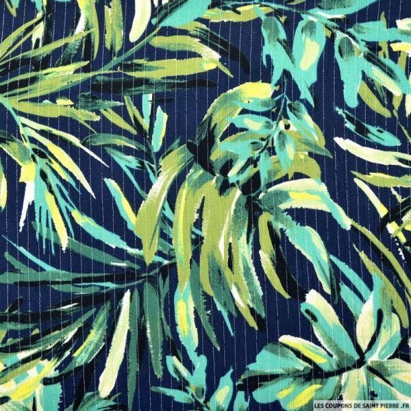 Crépon viscose jungle fond marine rayé lurex argent