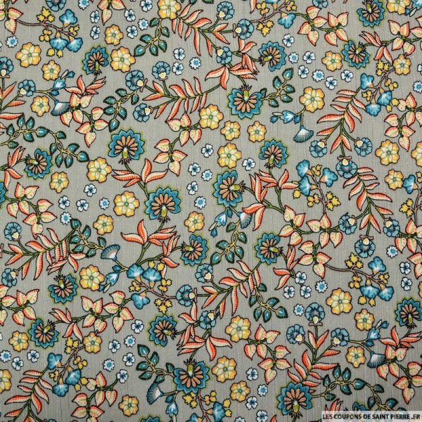 Crépon viscose fleurs champêtre fond grège rayé lurex argent