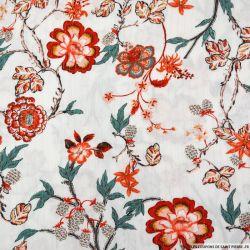 Crépon viscose fleurs japonaises fond blanc rayé lurex argent