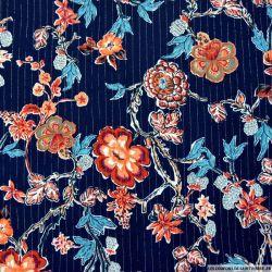 Crépon viscose fleurs japonaises fond marine rayé lurex argent