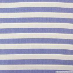 Viscose tissé larges rayures bleu et blanc
