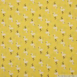 Voile de polycoton flamant fond jaune
