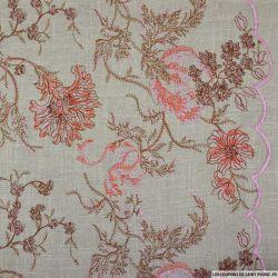 Lin viscose ficelle brodé fleurs rose