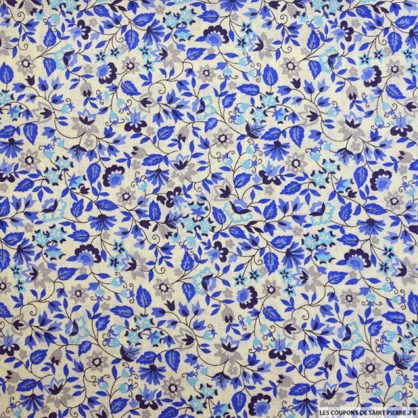 Lin imprimé fleurs bleu