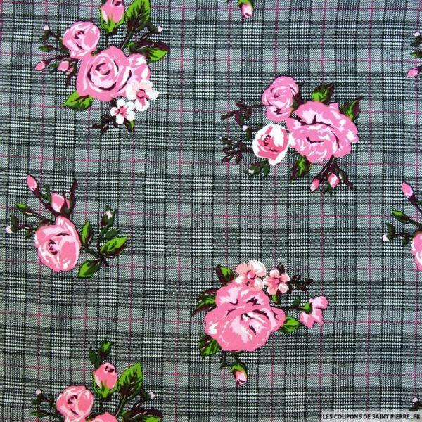 Viscose imprimée prince de galles fleurs rose