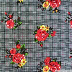 Viscose imprimée prince de galles fleurs rouge