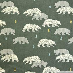 Coton imprimé ours fond vert