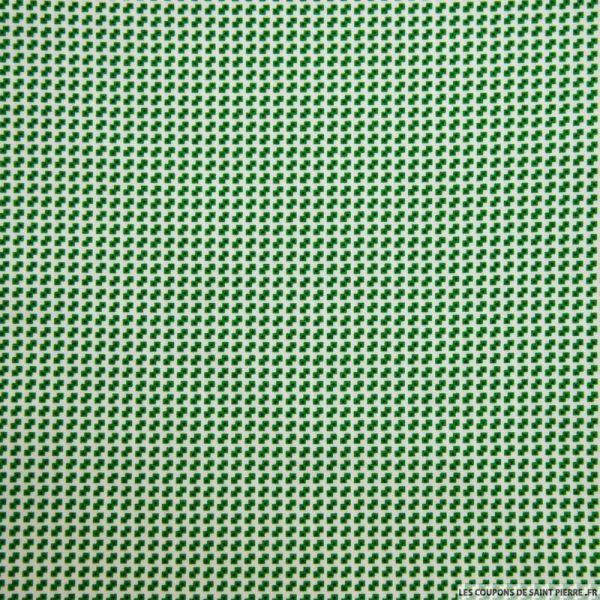 Coton imprimé pixel vert fond blanc