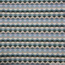 Coton imprimé frise triangles bleu