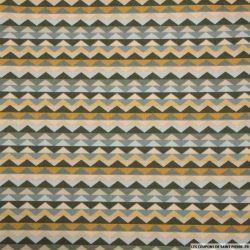 Coton imprimé frise triangles vert