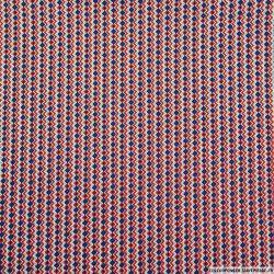 Coton imprimé frise zigzag rouge et marine
