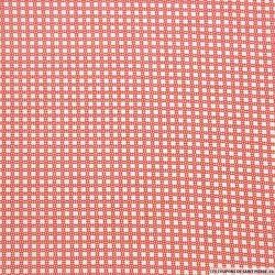 Coton imprimé motif grille rouge fond blanc