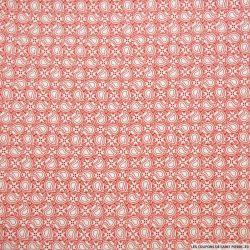 Coton imprimé carrelage cachemire rouge fond blanc