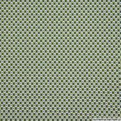 Coton imprimé petits carreaux vert