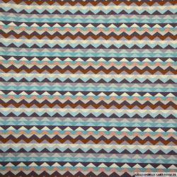 Coton imprimé frise triangles aubergine