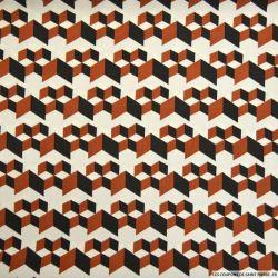 Microfibre imprimée cube 3D marron