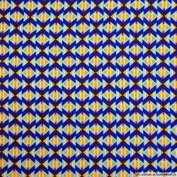 Microfibre imprimée flèche graphique bleu et jaune