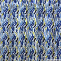 Satin polyester imprimé abstrait bleu