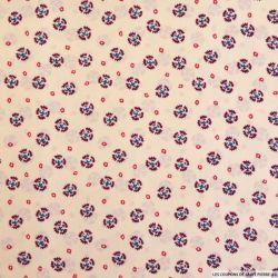 Satin polyester imprimé petites couronnes fond crème