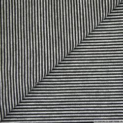 Jersey polyester fines rayures noir et gris