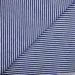 Jersey polyester fines rayures marine et ciel