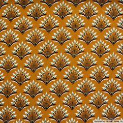 Microfibre imprimée paon graphique fond ocre