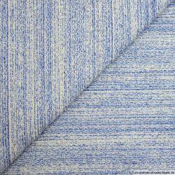 Tweed polycoton bleu et blanc chiné