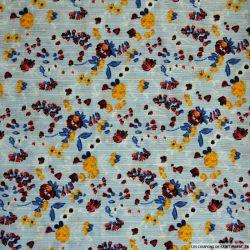 Crêpe polyester imprimé fleurs rayée fond ciel