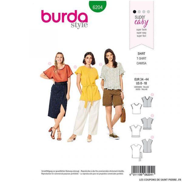Patron Burda n°6204 : T-shirt façon blouse