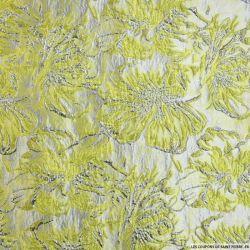 Brocart fleurs des champs vert anis et argent