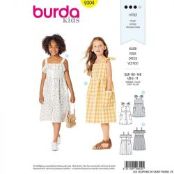 Patron Burda n°9304 : Robe Enfant col claudine
