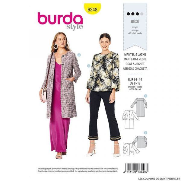 Patron Burda n°6248 : Manteau – veste – sans col
