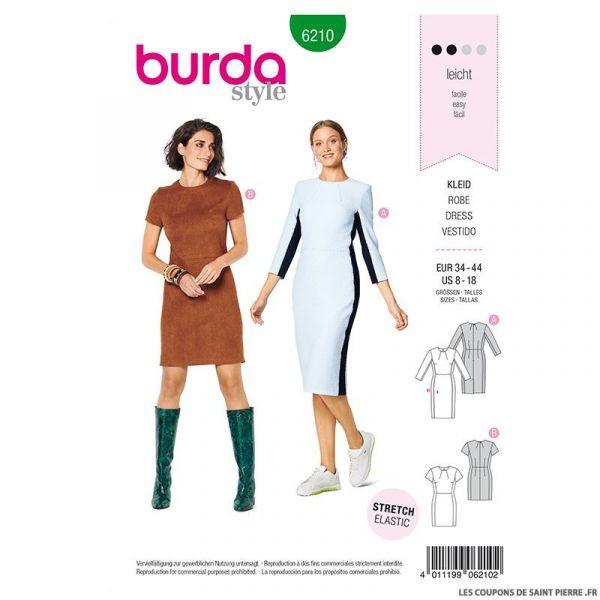 Patron Burda n°6210  : Robe fourreau avec fente d'aisance au dos