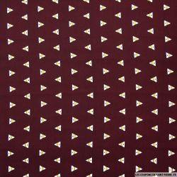 Microfibre imprimée triangle fond bordeaux