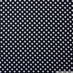 Microfibre imprimée petits carrés fond noir