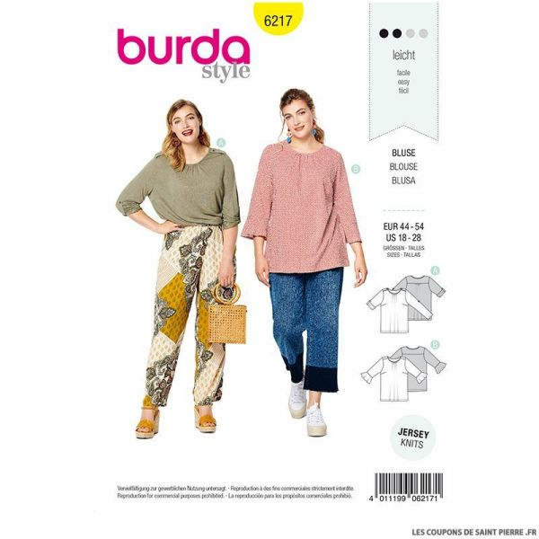 Patron Burda n°6217 : Tee-shirt – manches à retrousser –  manches avec des volants