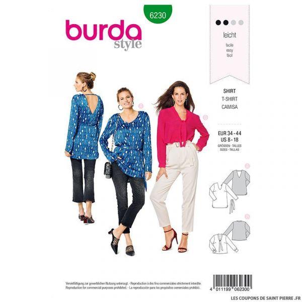 Patron Burda n°6230 : Pantalon à coulisse élastiquée avec des poches dans les coutures – jambe ample