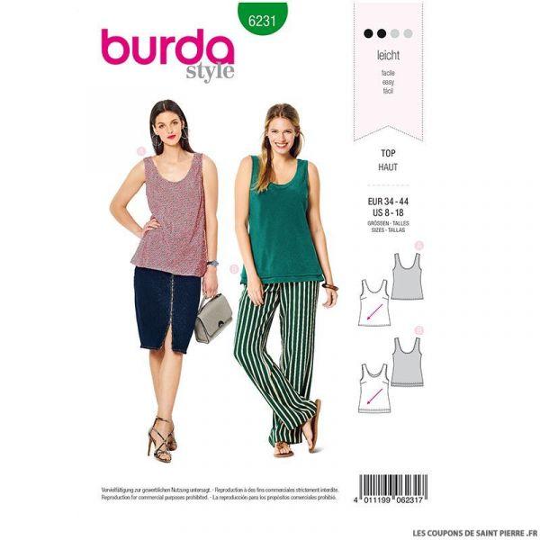 Patron Burda n°6231: Pantalon à coulisse élastiquée avec des poches dans les coutures – jambe ample