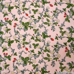 Double gaze imprimé fraisiers rose poudre